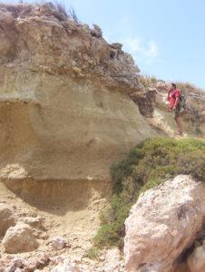 La trasgressione del Tirreniano (Tarentiano) sulle argille subappennine del Pleistocene Inferione presso Punta La Forca sull'Isala di San Pietro, la maggiore delle Isole Chéradi